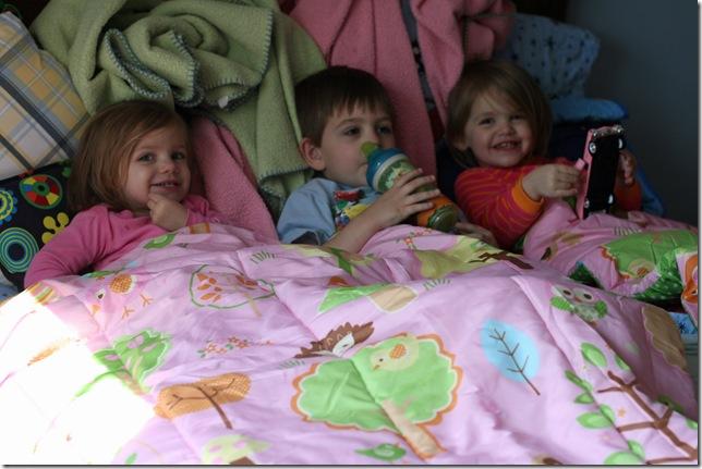 Trio in Bo's bed 3